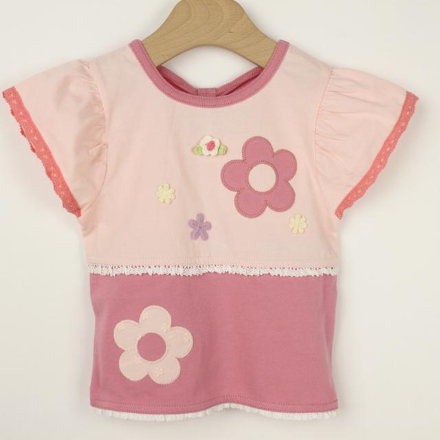 【セール10%OFF】Souris(スーリー) 切替Tシャツ ピンク 80cm   90cm 95cm 100cm  【おまかせ配送で送料お得】
