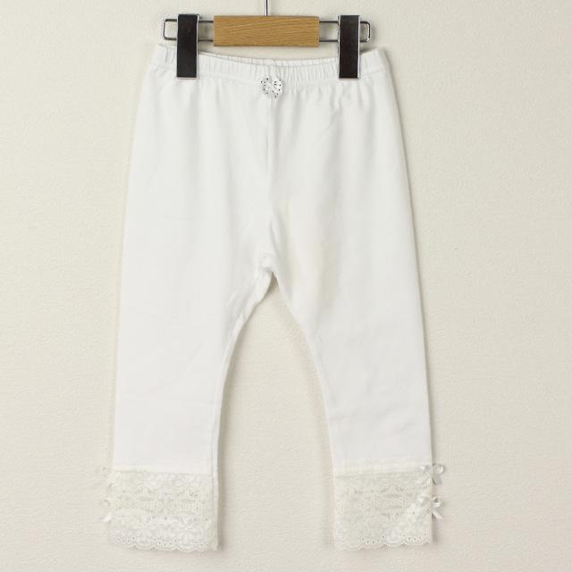 【在庫処分セール50%OFF】Le Cou Cou(ル・クク) 裾レースパンツ ホワイト M(110cm-120cm)     【おまかせ配送で送料お得】