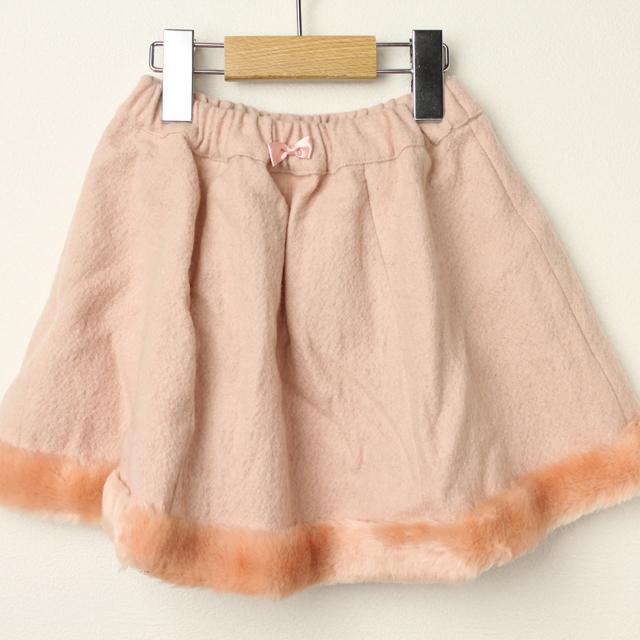 【在庫処分セール50%OFF】Le Cou Cou(ル・クク) 裾ボアウールスカート ピンク S(96cm-110cm)
