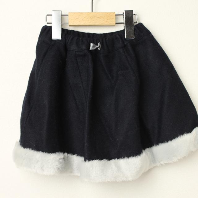 【在庫処分セール50%OFF】Le Cou Cou(ル・クク) 裾ボアウールスカート ネイビー S(96cm-110cm)