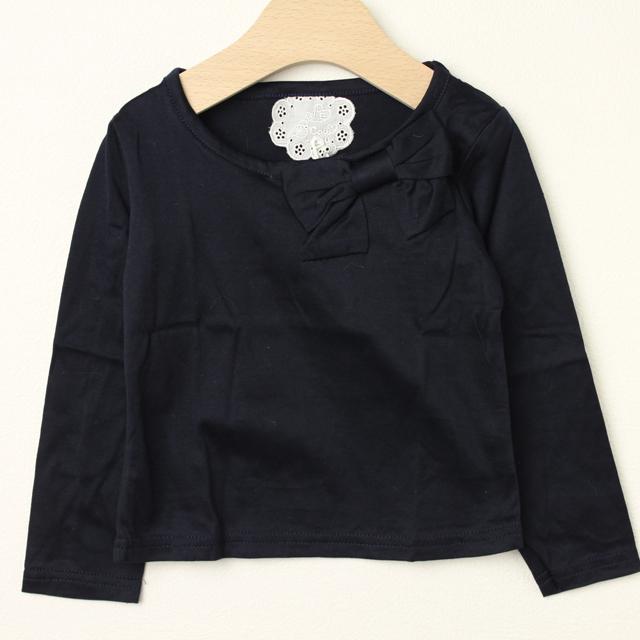 【在庫処分セール50%OFF】Le Cou Cou(ル・クク) 襟元リボン長袖シャツ 紺 XS(80cm-96cm) S(96cm-110cm)    【おまかせ配送で送料お得】