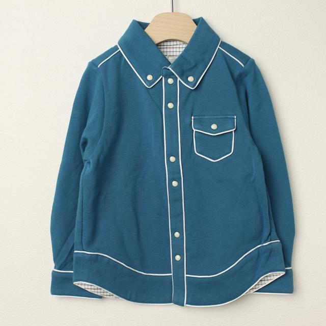 【在庫処分セール50%OFF】Le Cou Cou(ル・クク) 鹿の子長袖シャツ ブルー S(96cm-110cm)