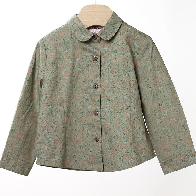 【在庫処分セール50%OFF】ROOM SEVEN  Basha blouse 4423 長袖ブラウス 花 カーキ 86cm 【おまかせ配送で送料お得】