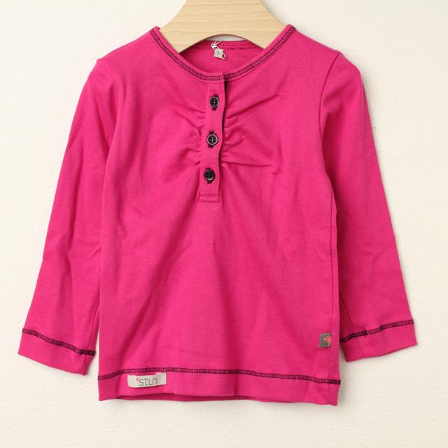 【在庫処分セール60%OFF】stun(スタン) 無地前ボタン長袖Tシャツ 濃ピンク 2才 3才 4才   【おまかせ配送で送料お得】