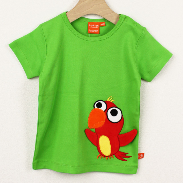 【在庫処分セール50%OFF】(春夏)LIPFISH (リップフィッシュ) 半袖Tシャツ Leaf Green おうむグリーン 86cm-92cm 98cm   【おまかせ配送で送料お得】
