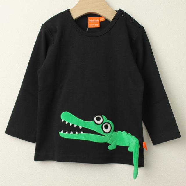 【セール30%OFF】LIPFISH (リップフィッシュ) Black Crocodile 長袖Tシャツ ワニ ブラック 86cm-92cm 98cm 【おまかせ配送で送料お得】