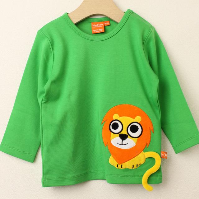 【在庫処分セール50%OFF】(秋冬)LIPFISH (リップフィッシュ) Green Lion 長袖Tシャツ ライオン グリーン 86cm-92cm 98cm 【おまかせ配送で送料お得】