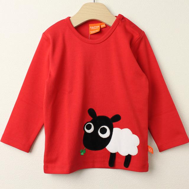 【セール30%OFF】LIPFISH (リップフィッシュ) Red sheep 長袖Tシャツ ひつじ レッド 86cm-92cm 98cm  【おまかせ配送で送料お得】