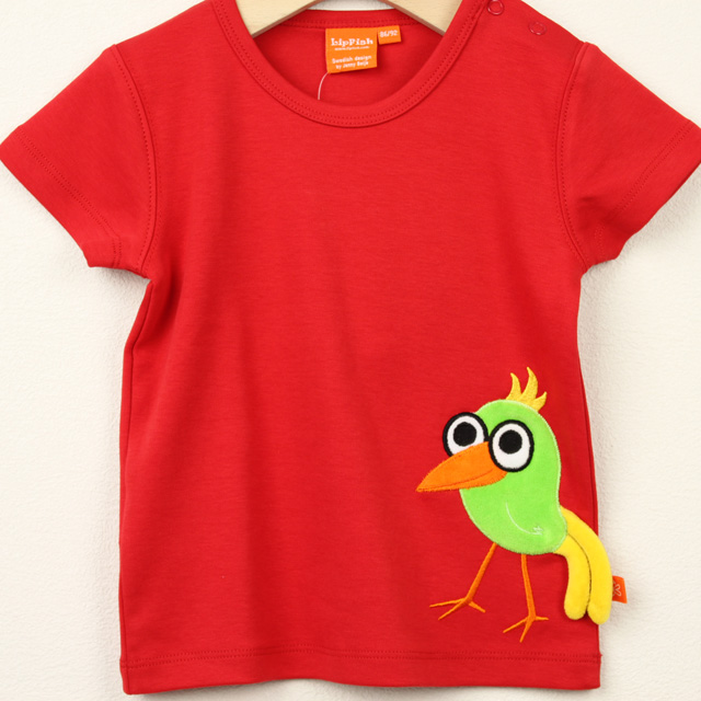 【在庫処分セール50%OFF】(春夏)LIPFISH (リップフィッシュ) red bird tshirt バード半袖Tシャツ レッド 86cm-92cm 98cm    【おまかせ配送で送料お得】