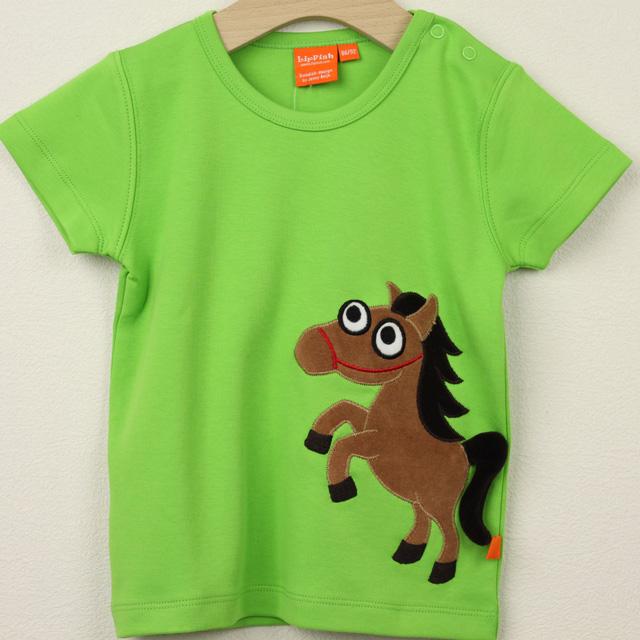 【セール20%OFF】LIPFISH (リップフィッシュ) apple green horse tshirt 馬半袖Tシャツ グリーン 86cm-92cm 98cm    【おまかせ配送で送料お得】