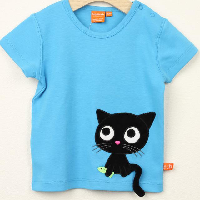 【セール20%OFF】LIPFISH (リップフィッシュ) turquoise kitten tshirt 猫半袖Tシャツ ターコイズ 86cm-92cm 98cm    【おまかせ配送で送料お得】