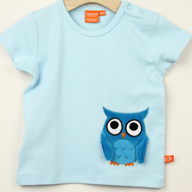 【セール20%OFF】LIPFISH (リップフィッシュ) lignt blue owl tshirt ふくろう半袖Tシャツ ライトブルー 86cm-92cm 98cm    【おまかせ配送で送料お得】