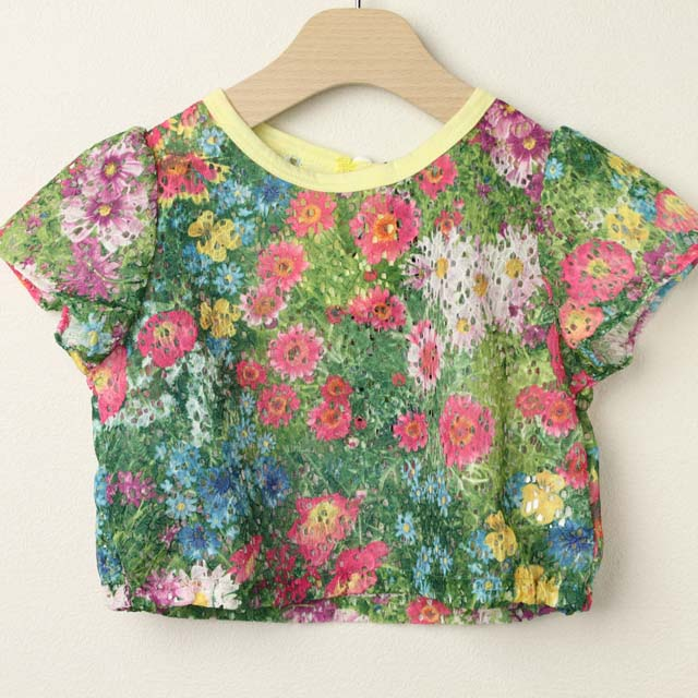 【セール50%OFF】LaLa Dress (ララドレス) 花柄ショートカットソー グリーン 110cm 120cm    【おまかせ配送で送料お得】