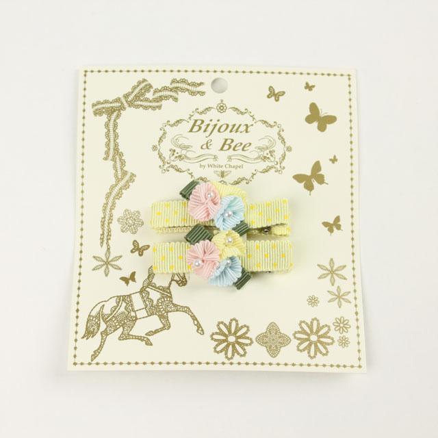 bijoux&bee(ビジューアンドビー) スモールフラワーのヘアクリップ(2個入り) イエロードット Free     【おまかせ配送で送料お得】 ◆