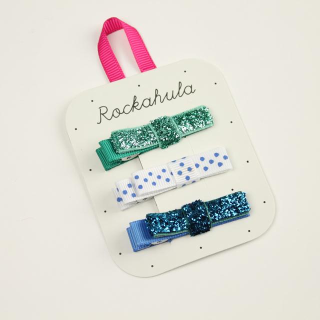 Rockahula KIDS(ロカフラキッズ) GLITTER GROSGRAIN BOW ブルーセット FREE     【おまかせ配送で送料お得】◆