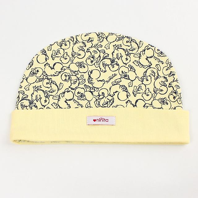 【在庫処分セール50%OFF】ninita (ニニータ) アヒル柄丸帽子 黄色 40cm 【おまかせ配送で送料お得】