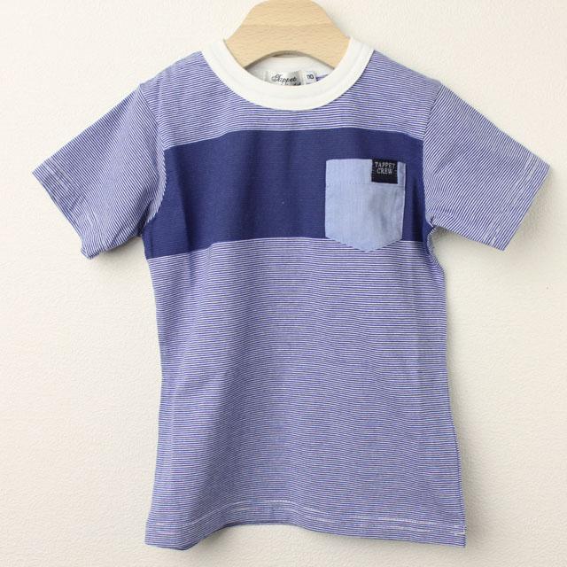 【在庫処分セール50%OFF】(春夏)TAPPET(タペット) 胸ポケットボーダーTシャツ ブルー 110cm 120cm    【おまかせ配送で送料お得】