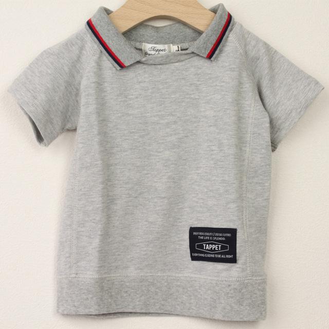 【セール20%OFF】TAPPET(タペット) 鹿の子ポロ衿Tシャツ グレー 90cm 100cm    【おまかせ配送で送料お得】