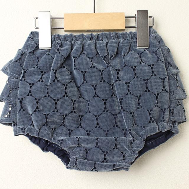 【セール30%OFF】mimi poupons.(ミミプポン) フリルパンツ サークルレース ブルー Free(70cm-90cm)     【おまかせ配送で送料お得】