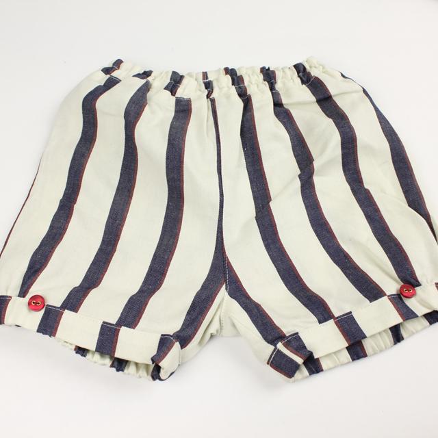 mimi poupons.(ミミプポン) パフボトム ラージストライプ ホワイト S(90cm-100cm)◆     【おまかせ配送で送料お得】