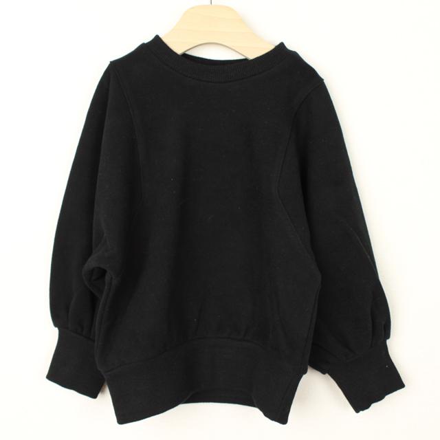 【セール30%OFF】(秋冬)mimi poupons.(ミミプポン) ベルスリーブスウェット ブラック 4Y 6Y
