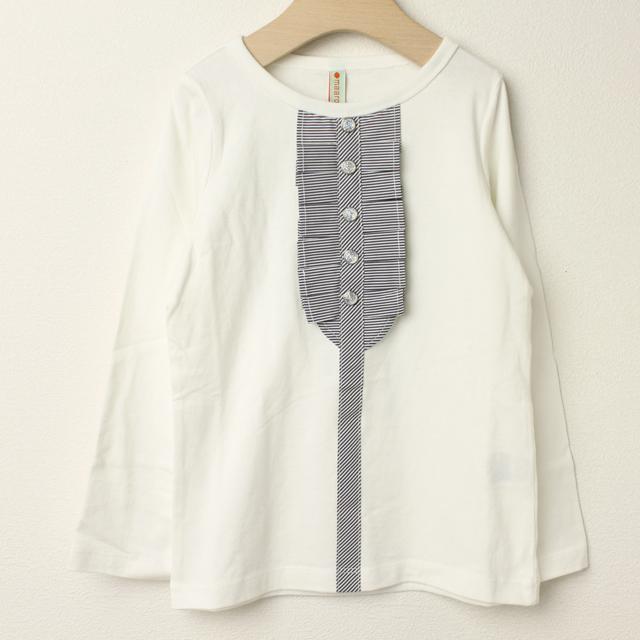【セール30%OFF】maarook(マルーク) 天竺フリル長袖Tシャツ 白 110cm 120cm    【おまかせ配送で送料お得】