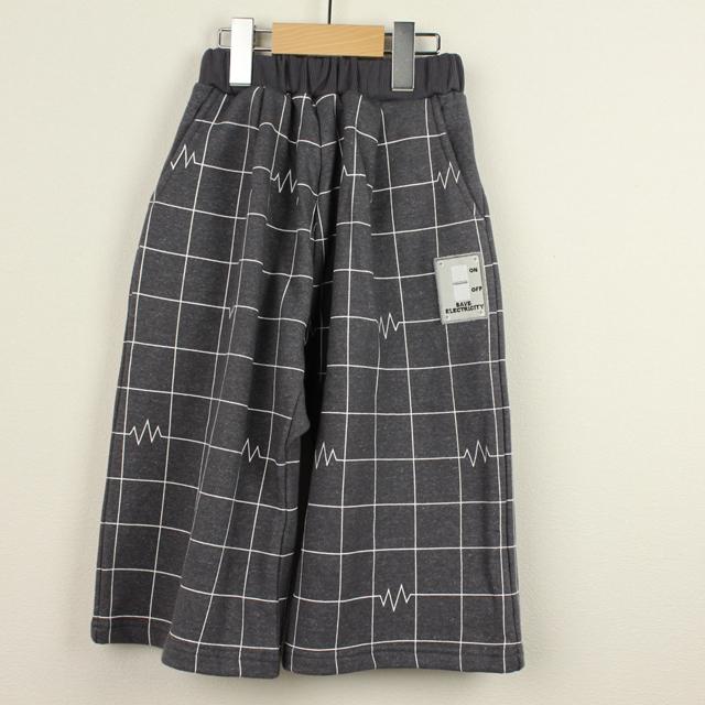 【セール30%OFF】(秋冬)MoL(モル) ビリビリチェックワイドパンツ グレー 110cm 120cm