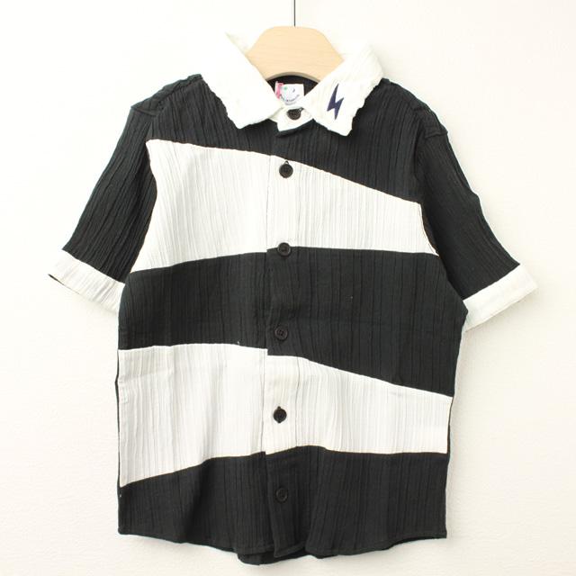 【在庫処分セール50%OFF】(春夏)MoL(モル) オニのシャツ イナズマネイビー ブラック 100cm 110cm
