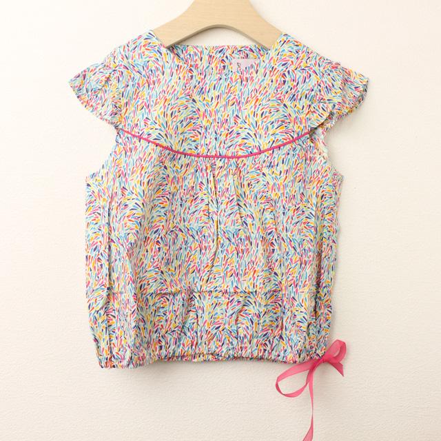 【セール30%OFF】Eponime(エポニーム) topi liberty confettis  裾しぼりリバティノースリーブシャツ マルチ 5才 6才