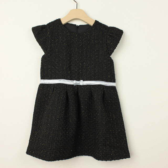 【セール15%OFF】Bizzu(ビズー) ツイードドレス ブラック 120cm 130cm