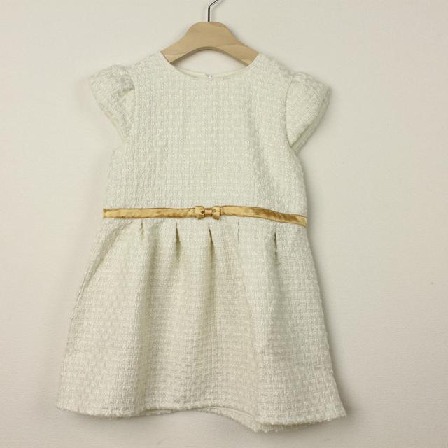 【セール15%OFF】Bizzu(ビズー) ツイードドレス ホワイト 120cm 130cm