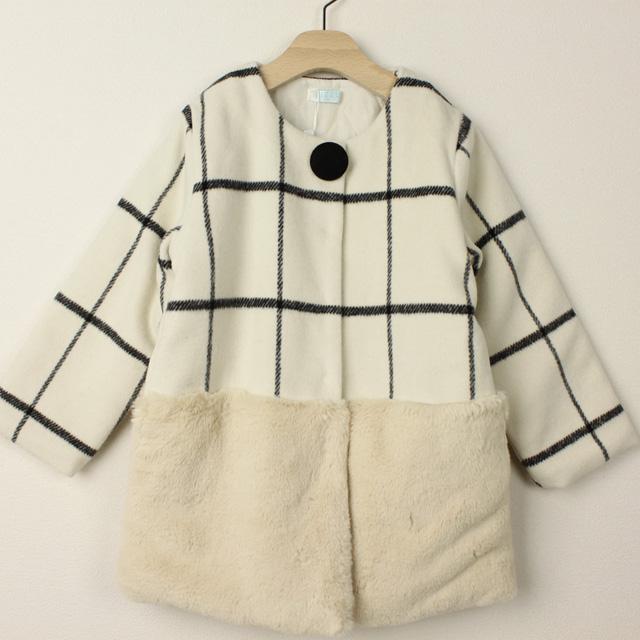 【セール15%OFF】Bizzu(ビズー) チェック×ボアノーカラーコート ホワイト 120cm 130cm