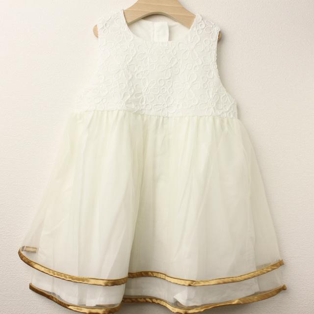 【セール20%OFF】Bizzu(ビズー) ラメコードフラワードレス ホワイト 110cm 120cm