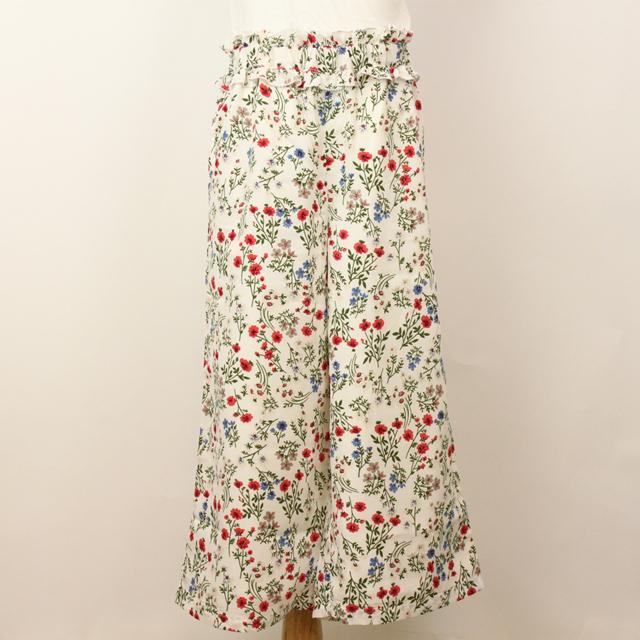 【セール10%OFF】Bizzu(ビズー) 花柄ガウチョパンツ ホワイト 130cm 140cm    【おまかせ配送で送料お得】
