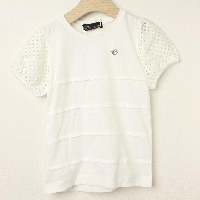 【セール30%OFF】Chien Chien(シアンシアン) 袖レースパターンメッシュTシャツ ホワイト 110cm 120cm    【おまかせ配送で送料お得】