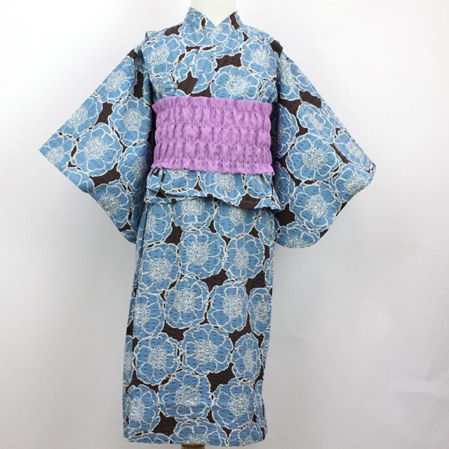 【セール10%OFF】Chien Chien(シアンシアン) フラワープリント2WAY浴衣 ブラウン M(100cm-110cm) L(120cm-130cm)    【送料無料】
