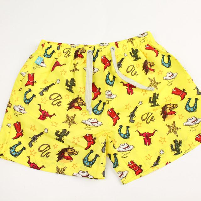 【在庫処分セール50%OFF】(春夏)Elly la Fripouille(エリーラフリップイユ) UVカット ショートパンツ型水着 Boy Swim Short Cow Boy イエロー 2才-3才 3才-4才    【おまかせ配送で送料お得】