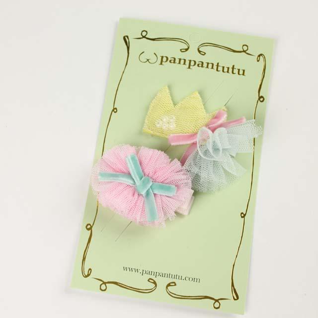 panpantutu(パンパンチュチュ) ティアラコサージュヘアピン(2個セット) イエロー Free     【おまかせ配送で送料お得】◆