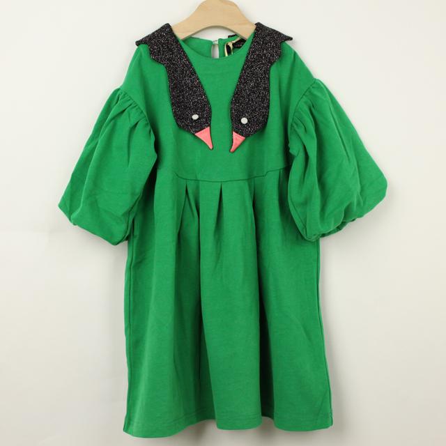 【2018年秋冬新作】UNICA(ユニカ) スワンズバルーン袖ワンピース グリーン 110cm 120cm 130cm   【送料無料】