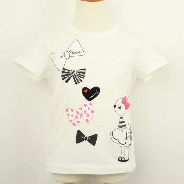 【2019年春夏新作】KP(ニットプランナー)  リボンミミちゃんTシャツ オフシロ 140cm     【送料無料】