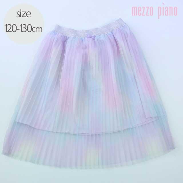 【2021年春夏新作】mezzo piano (メゾピアノ) レインボー チュール フリル スカート 120cm 130cm      【送料無料】