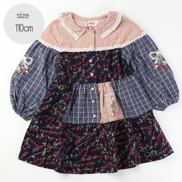【2019年秋冬新作】Souris(スーリー)パネル切替ベリー ワンピース コン 110