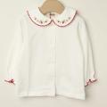 【セール20%OFF】Souris(スーリー) いちご襟刺繍ブラウス 白×レッド 80cm 90cm    【おまかせ配送で送料お得】