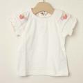 【セール15%OFF】Souris(スーリー) 袖モチーフTシャツ 白×ピンク 80cm 90cm 100cm 110cm 120cm 130cm【おまかせ配送で送料お得】