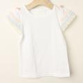 【セール15%OFF】Le Cou Cou(ル・クク) レインボーフリル袖Tシャツ 白 S(96cm-110cm) M(110cm-120cm)    【おまかせ配送で送料お得】