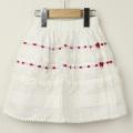 【在庫処分セール50%OFF】Le Cou Cou(ル・クク) フリル付きスカート 白×赤 XS(80cm-96cm)