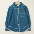 【セール30%OFF】Le Cou Cou(ル・クク) 鹿の子長袖シャツ ブルー S(96cm-110cm)