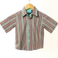 【在庫処分セール70%OFF】wonderboy半袖シャツ(FirewoodStrp) 茶Xグリーン 4T【おまかせ配送で送料お得】