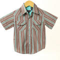 【在庫処分セール70%OFF】wonderboy半袖シャツ(FirewoodStrp WEST) 茶Xグリーン 3T【おまかせ配送で送料お得】