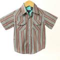 【在庫処分セール70%OFF】wonderboy半袖シャツ(FirewoodStrp WEST) 茶Xグリーン 4T【おまかせ配送で送料お得】